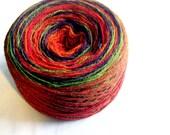 FREE SHIPPING WORLDWIDE Kauni Festival Selfstriping Wool 8/2 Yarn 2ply Estonian Red Darkorange Green Purple