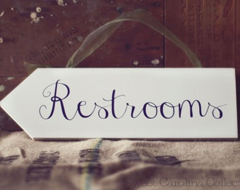 Wedding Sign, Wedding Wooden Sign - Restrooms Directional Sign WS-37