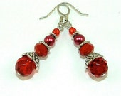 Vibrant Red Glass and Crystal Beaded Earrings