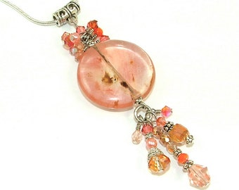 """MAJOR MARKDOWN - Peach Cherry Coral Crystal Clusters and Tassels on """"Cherry Quartz"""" Pendant Round Pendant on Silver Plated Snake Chain"""