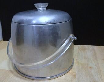Vintage  Kromex Ice Bucket with Lid - Mid Century Brushed Aluminum Ice Bucket - Mad Men Barware