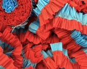 36 Feet RED and TURQUOISE Ruffled Crepe Paper Streamers - Party Decoration - Craft and Party Supplies - CharmiosCraftParty