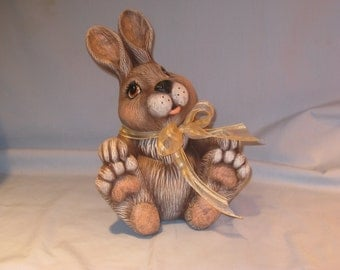 Ceramic Basil Bunny, 10 inches tall X 7 inches wide, hand painted by Joan Davis