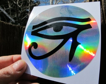 Eye of Horus Sticker-  Right Eye of Clarity- Black On Prismatic Rainbow Silver