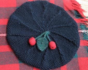 Slouchie Cherry Beret Knitting Pattern
