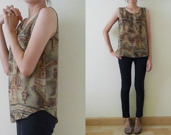 vintage slouchy gray green and gold sleeveless blouse, baroque style, soft touch, summer tank, baroque prints, unique and comfy