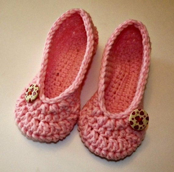 items similar to crochet slippers womens pink house shoes
