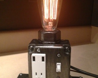 dimmable Industrial Desk lamp (Patina) Industrial Phone Charger - Laptop Charger - Steampunk - Office Decor - Charging Station - USB