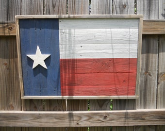 Rustic Wood Texas Flag, Reclaimed wood, wall art, Distressed Finish
