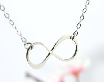 Silver Infinity Symbol Necklace, Best Friend Infinity, Silver Infinity Charm