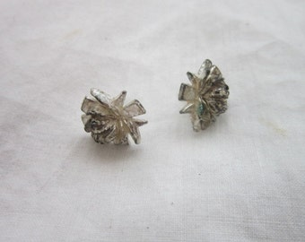 Vintage Rose Silver Tone Pierced Earrings