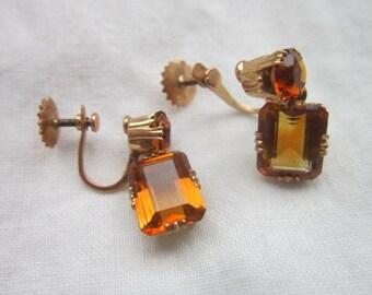 Antique 18K Gold & Real Yellow Topaz  Dangle Earrings Beautiful