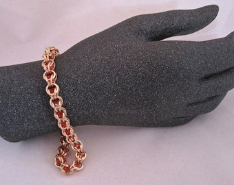 Bronze Chainmaille Captured Beads Bracelet