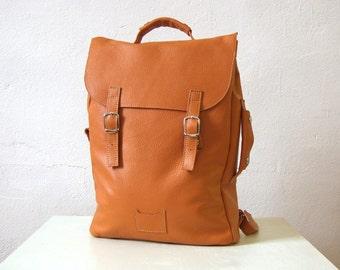Orange large leather backpack rucksack / To order / Leather backpack / Leather rucksack / Orange leather backpack / Christmas Gift