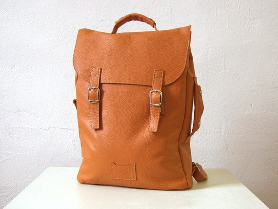 Orange large leather backpack rucksack / To order / Leather backpack / Leather rucksack / Orange leather backpack / Christmas Gift