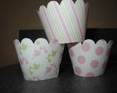 Baby Girl Stork Cupcake Wrappers  Baby Shower Girl Pink Green set of 12