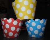 Polka Dot Cupcake Wrappers  Set of 12   Birthday Party