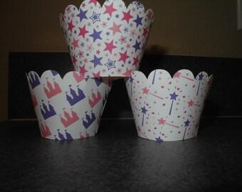 Princess Castle Cupcake Wrappers   Wand  Star  Princess Pink