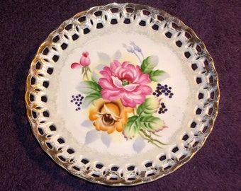 Vintage  Plate Gold Rimmed Filigree Outer Edge with Floral  Rose Design, Japan