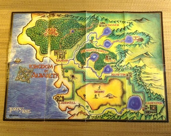 """Vintage Wall Map for Times Of Lore  an old Adventure PC Game on 5 1/4"""" Disk by Origin Systems"""
