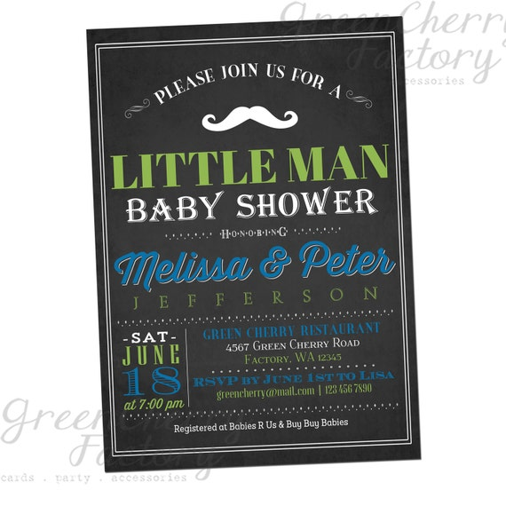items similar to little man co ed baby shower invitation