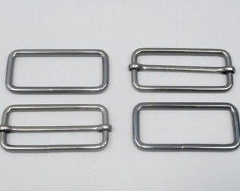 10 Sets 2 Inch (51mm) Gunmetal Strap Adjusters and 2 Inch Rectangle Rings