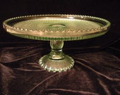 MidCentury Federal Pattern Pressed Glass Cake Stand Spring Wedding