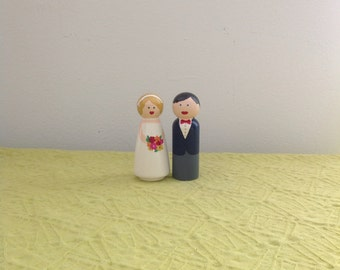 Handpainted Couple Cake Topper Keepsake Gift Customizable Unique Wooden