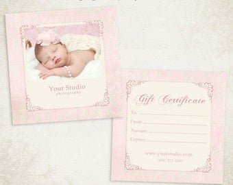 Photography Gift Certificate photoshop template 009- ID0118, Instant Download