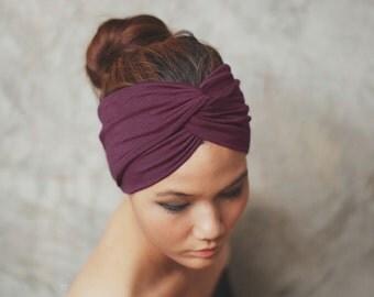 Dark Burgundy, Turban Twist headband, Plain color collection, yoga headband, HTW-P39