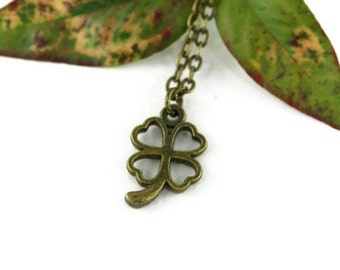 Four Leaf Clover Necklace, Rustic Whimsical Luck O' The Irish Botanical Shamrock Good Lucky Charm Simple Minimalist St. Patricks Day Jewelry