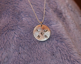 Handstamped Personalized Sterling Silver Initial Necklace, 4 initials necklace