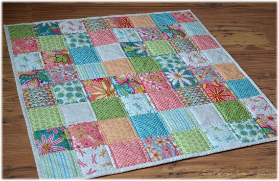 Baby quilt. Quilted baby blanket crib quilt or play mat.