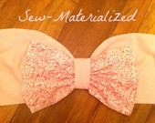 Light Pink & White Floral Bow Bandeau
