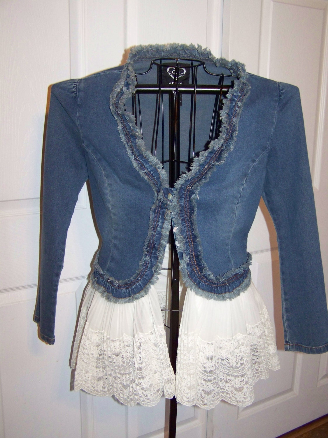 denim and lace upcycled bohemian gypsy shabby chic jacket. Black Bedroom Furniture Sets. Home Design Ideas