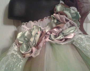 Vintage Inspired Ivory Flower Girl tutu dress with matching hairpiece 3t-4t