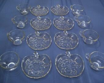 JUST REDUCED! Vintage Tea Cup & Saucer Set of 8, Depression Glass, Candlewick pattern 1930's set