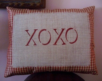 "Whimsical Check ""XOXO"" Pillow, Novelty Pillow, Accent  Pillow,Throw Pillow, Kisses Pillow,Love you Pillow"