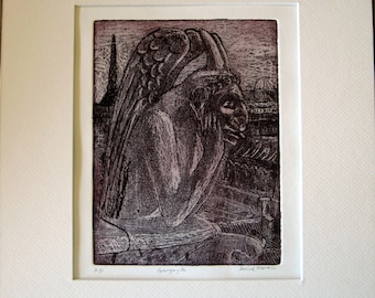 Gargoyle of Notre Dame - etching & aquatint of gargoyle