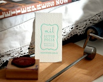 Letterpress Business Cards - Cotton Paper - Customized  - 1 color