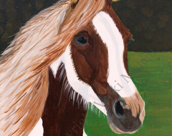 Horse on Canvas, rustic western decor, colt, horse gifts, horse art,horse decor, pinto, piebald, farmhouse decor, horse painting, Item #PBO1