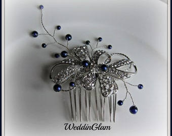 Wedding Hair Accessories, Midnight blue wedding comb Tiara, Navy blue pearls rhinestone comb, vintage inspired comb, mother of the bride,