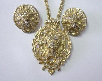 Vintage Lion Head Door Knocker Necklace Earring Set