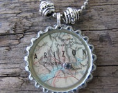 Map Necklace, Phoenix, Arizona State Vintage Map Charmed Necklace, OOAK