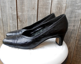 Vintage Shoes Heels Black Leather Reptile Magdesians 7.5 N