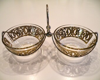 Georges Briard Twin Candy or Condiment Dishes in Metal Frame