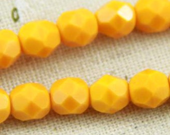 25 pcs strand of Czech glass polished beads-6mm-9017- opaque  orange