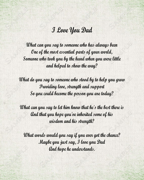 The Words I Love You Dad