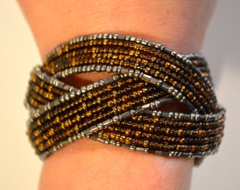 Beaded Crossover X Cuff Bracelet Brown, Amber, Copper & Silver