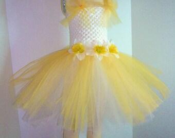 White and Yellow Daffodil Tutu Dress